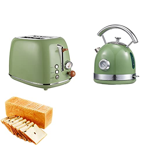 Toast Toaster Toaster Home Breakfast Machine Integrated Electric Kettle Boiling Water Retro 2-Piece Set 6-Speed Baking