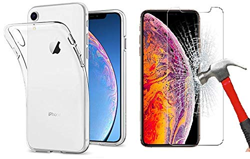 Oli iPhone X/XS Hülle +Panzerglas, Transparent Durchsichtig [Ultra Dünn] Klar Weiche TPU Schutzhülle für Apple iPhone 10 Schutzfolie 5.8 Zoll Premium 9H, 5-Mal Verbesserte Gehärtetes Glas