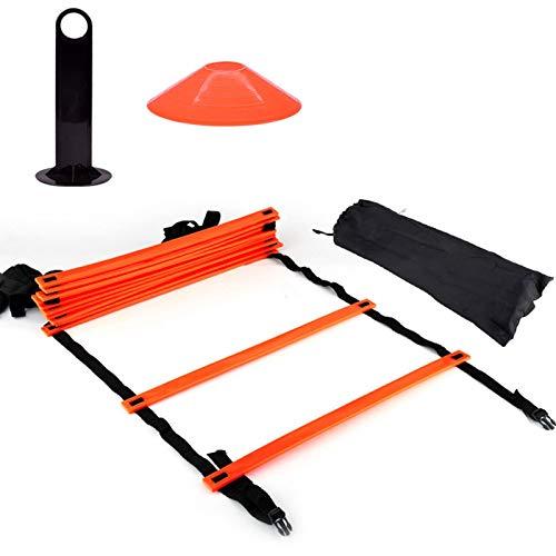Alomejor Équipement d'entraînement de Football de cônes d'échelle de Vitesse pour Les Enfants Adultes Kit d'entraînement d'exercice pour Booster la Forme Physique(Orange)