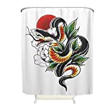 kikomia Maschinenwaschbar Duschvorhang Japanisch Schlange Sonne Blumen Druck Duschvorhang Liner Badezimmer Inneneinrichtung white 180x200cm