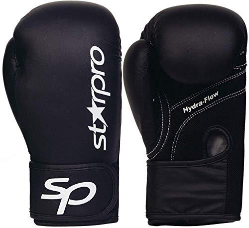 Starpro Kinder Boxhandschuhe Training Sparring - 6oz 8oz | Muay Thai Boxsack Gut für Kickboxen Pro Sparring Punchinghandschuhe Mitts Boxsack Fitness Übung | Junior Schwarz Kunstleder Boxing Gloves