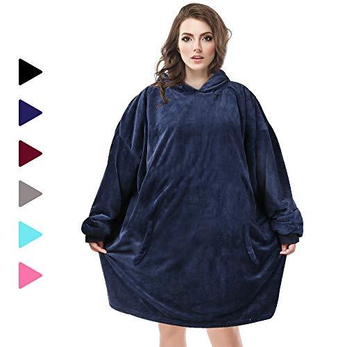 AmyHomie Blanket Sweatshirt, Oversized Sherpa Hooded Sweatshirt,Wearable Hoodie Blanket with Pocket for Adults & Kids & Teen (Blue, one Size)