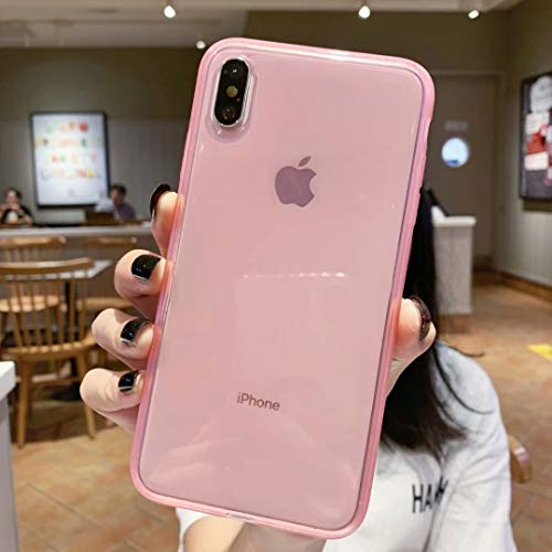 """iPhone Xs Max Case Clear,Matte Shock-Absorption Bumper Edge Silicone TPU Soft Gel Phone Cover for Apple iPhone Xmax 6.5"""" (2018) - Clear Pink"""