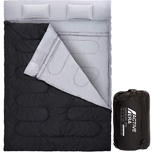 Active Era Double Sleeping Bag - Large Queen Size (87' x 60') - Water Resistant & Lightweight with 2 Pillows & Compression Bag, Converts into 2 Singles – 3 Seasons 32F, Perfect for Camping & Hiking