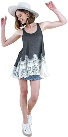 Umgee Women s Floral Lace Tunic Tank Top Extender Small Charcoal product image