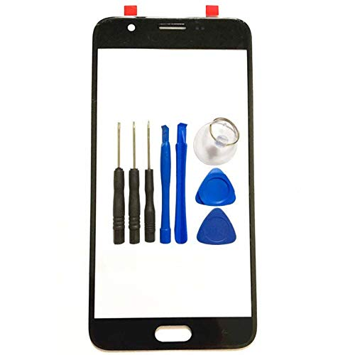 for Samsung Galaxy J7 (2018) Front Glass Panel - Black Front Panel Outer Lens Cover Replacement for Samsung Galaxy J737 2018 SM-J737V J737T J737A J737P with Opening Tool (Not LCD &Not Digitizer)
