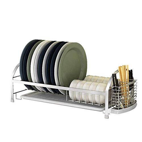 COOLSHOPY Estantería de cocina Dish Drainer Rack-armario de cocina de acero inoxidable con soporte para cubiertos extraíble, se puede limpiar frutas y verduras