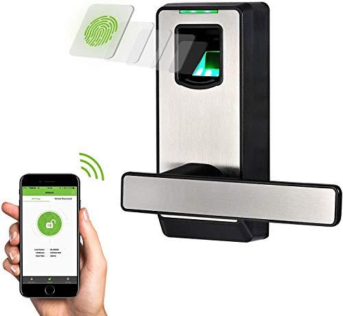 Cerradura Inteligente & Biométrica Keyless con cerrojo de doble cilindro - ZKTeco PL10DB (GER) - Smart lock con Huella Dactilar - Bluetooth 4.0 - Smartphone App - Ideal para dormitorios.