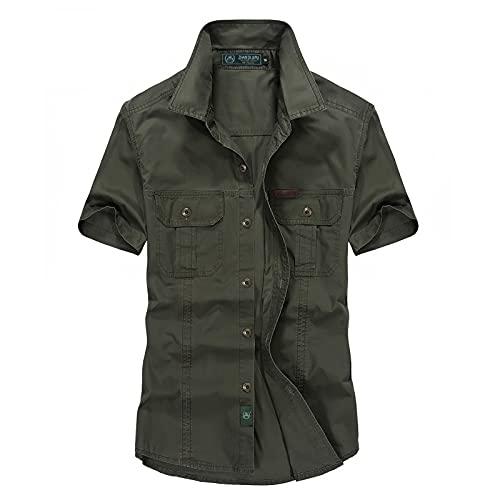 Xmiral Camicetta Top Camicie Uomo Manica Corta Camicia in Cotone Lavato da Esterno Stile Militare Camicie Taglie Forti (4XL,2verde)