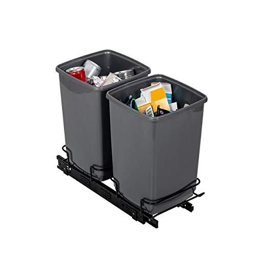 Addis Cubo de Basura de Doble Reciclaje para el Armario, 2 Cubos de 10 litros, 100% reciclados, Color Gris Claro, 20 litros