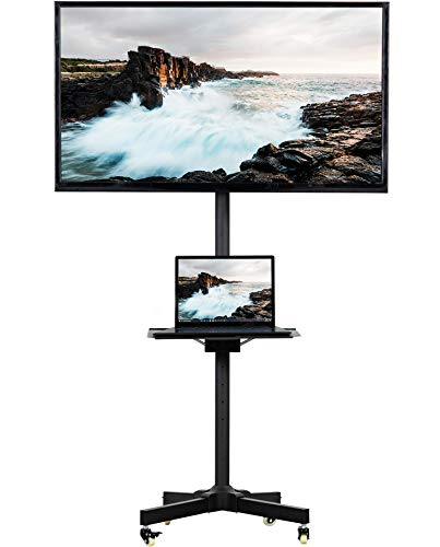 VIVO Mobile TV Cart for 23-55 inch LCD LED Plasma Flat Panel Screen TVs up to 55 lbs | Pro Height Adjustable Rolling Black Stand with Laptop Shelf, Locking Wheels - Max VESA 400x400 (STAND-TV04M)