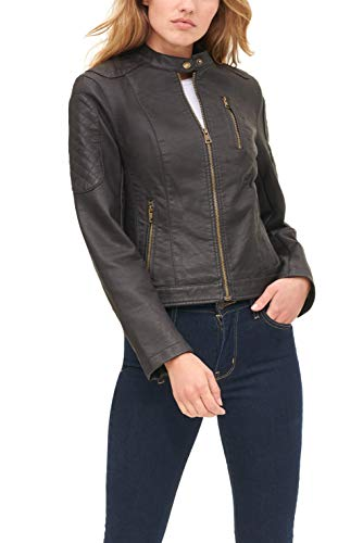 Levi's Women's Faux Leather Motocross Racer Jacket (Standard and Plus), Brown, X-Small