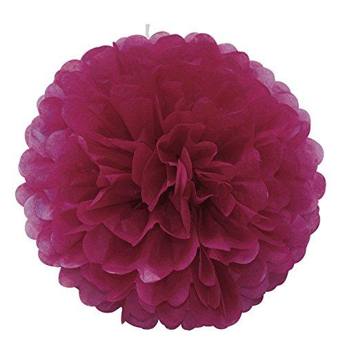 """ipalmay 10unidades varios colores papel de seda pompones 8""""bolas de flores para sembrar decoraciones de fiesta de cumpleaños, granate, 8 Inch( 20cm )"""