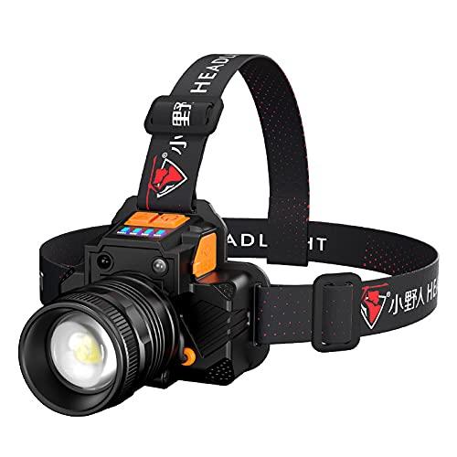 Luz de sensor LED súper brillante para exteriores de alta potencia con zoom USB montado en la cabeza, linterna de manos libres