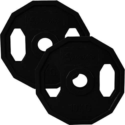 Photo of BodyRip Polygonal Black Coded Olympic 2″ Weight Plates | Curl, Press, Pullover | Fitness Exercise, Weight Lifting, Crossfit | 2 Pcs of 10kg
