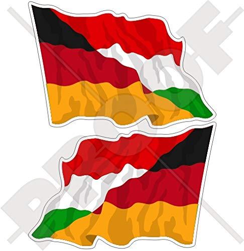 Duitsland-Hongarije Duits-Hongaarse Waving Vlag 75mm Vinyl Bumper Sticker Sticker Decal x2