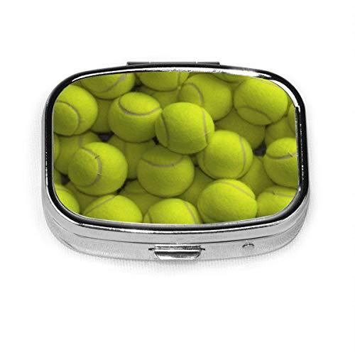 Pastillero – Pastilleros personalizados para pelotas de tenis, portátil, rectangular, de metal, plateado, compacto, 2 espacios, pastilleros para viaje/bolsillo/bolso