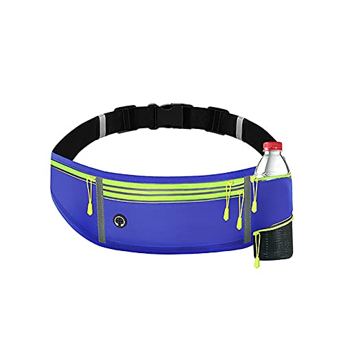 Cintura di esecuzione riflettente a colori multipli per uomini da uomo, mini sportivi resistenti all'acqua Sport Fanny Pack con portabottiglie ad acqua e tasche a 4 chiusura a cerniera per cinghie reg