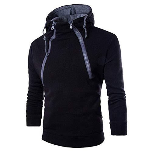 KPILP Herrenmode Langarmhemd Patchwork Hoodie Kapuzenpulli Top Tee Outwear Bluse Grundlegende Shirt(Schwarz, L