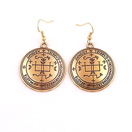 HCMA Salomón Estilo Vikingo Arcángel Gabriel Amuleto religioso talismán Pendientes de aleación de Zinc de Oro Antiguo Regalo de la joyería