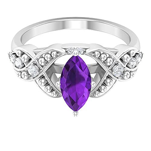 Rosec Jewels - Anillo solitario con 1,6 ct D-VSSI amatista, anillo de compromiso marquesa, anillo milgrain de oro, 14K Oro blanco, amatista, Size:EU 48