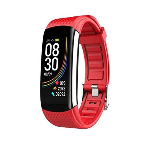 XXY Nuevo Reloj Deportivo Presión Arterial Tasa del Corazón Dormitorio Ejercicio Pedómetro Bluetooth Smart Pulsera C6T Monitoreo De La Temperatura Corporal (Color : Red)