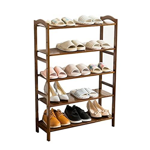 ZZYE Zapatero 5 Niveles Zapatillas de Madera Mueble de Almacenamiento de Madera Muebles de Muebles Organizador de Zapatos Estante de bambú para 15 Pares (marrón) (L) 69x (d) 25.5X (H) 102 cm Perchero