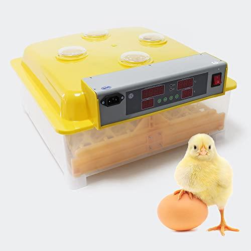 WilTec Incubadora automática Capacidad para 48 Huevos de gallina y 4 Ventanas observación, Pato, codorniz