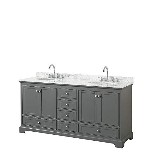Wyndham Collection Deborah 72 Inch Double Bathroom Vanity in Dark Gray, White Carrara Marble Countertop, Undermount Oval Sinks, and No Mirrors