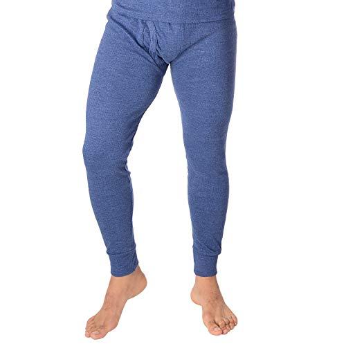 Herren Lange Thermo Unterhose, gerippt, mit Eingriff und atmungsaktiver Baumwolle Blau XL