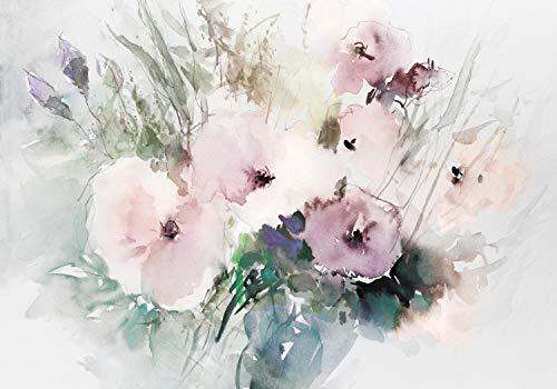 wandmotiv24 Fototapete Blumen Aquarell Vintage, L 300 x 210 cm - 6 Teile, Fototapeten, Wandbild, Motivtapeten, Vlies-Tapeten, Blüten Rosa M5866
