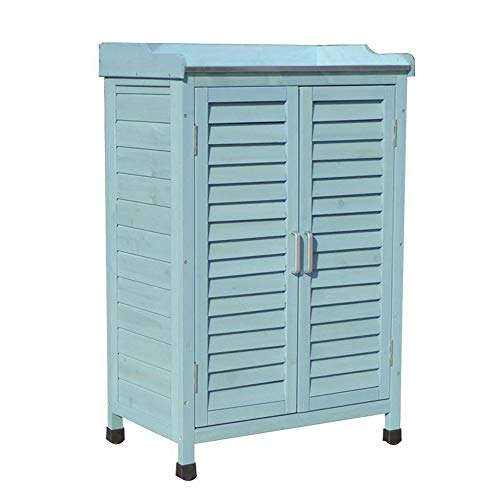 Outdoor garden storage shed wooden tool storage cabinet, double door patio balcony storage cabinet with 3-layer partition, for tools, lawn care equipment, swimming pool supplies and garden accessori
