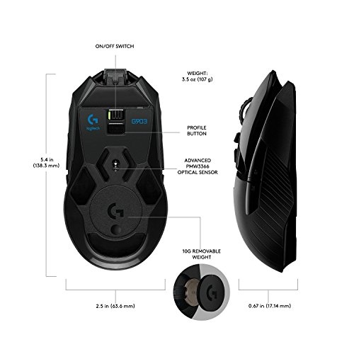 Logitech G903 LIGHTSPEED Gaming Mouse with POWERPLAY Wireless Charging...