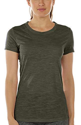 icyzone Damen Kurzarm Shirt Atmungsaktiv Oberteile Fitness Gym Top Casual T-Shirt (M, Army)