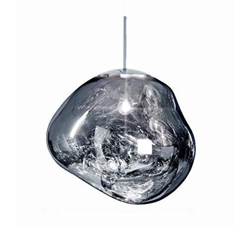 Lámpara colgante Lámpara de techo Lámpara pendiente de la cocina moderna sala de estar cubierta de forma irregular colgante de cristal de la lámpara de luz (Color : Silver)