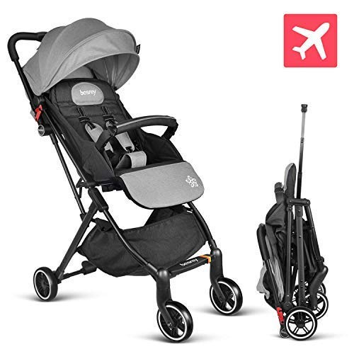 besrey Baby Stroller Pram Baby Carriage Reclining Seat for Airplane Compartment - Gray