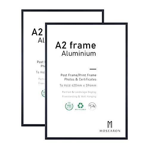 Lot de 2 cadres photo A2 en aluminium avec façade en plexiglas - 42 x 59,4 cm - Cadre photo A2 pour montage mural