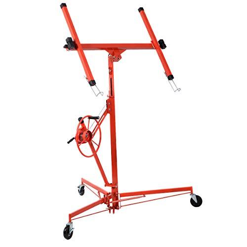 Goplus 11' Drywall Lift Panel List Hoist Jack Lifter Construction Tools w/Adjustable Telescopic Arm Lockable Caster Wheel, 150 lbs, Red