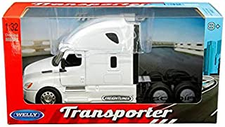 New DIECAST Toys CAR Welly 1:32 W/B - Transporter - Freightliner Cascadia CAB (White) 32695W-WH