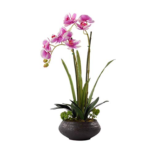 Artificial Flowers Chinese-style Hotel Villa Artificial Butterfly Orchid, Artificial Flower Bonsai Ceramic Flower Pot Artificial Potted Plant, Soft Flower Arrangement Artificial Plant Set Fake Flowers