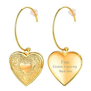 U7 Women Girls 18K Gold Plated Cute Heart Locket Dangle Drop Earrings Customized Engrage Back Side