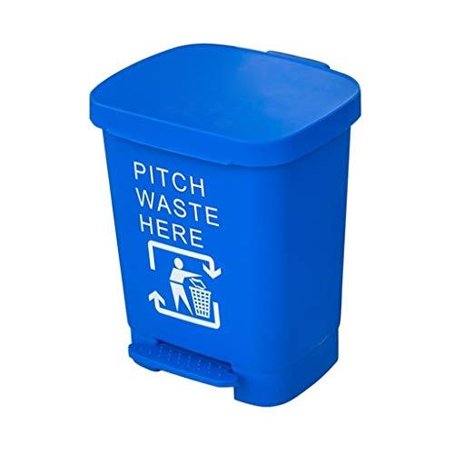 Office Trash Can, plast flera färg Hållbar papperskorgen Förtjockning Pedal Type Home Kitchen papperskorgen Steg-on papperskorgen soptunna Kitchen House (Color : Blue, Size : 40L)