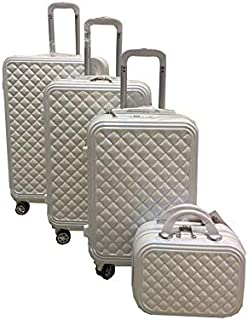 Travel Luggage Trolley bags 3 Pieces Set and 1 Piece Beauty Case, White