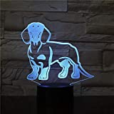 OMCR Illusion 16 Couleurs Veilleuse Teckel saucisse saucisse chien forme lampe stand Wiener chien animal animal chiot gentil...