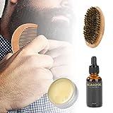 Kit de cuidado de barba - Profesional, tatuajes temporales corporales, peine de barba, cepillo de crema, kit de aceite, herramienta de cuidado hidratante para bigote