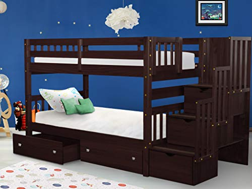 Bedz King Stairway Bunk Beds Twin over Twin with 3 Drawers in the Steps and 2 Under Bed Drawers - Cappuccino