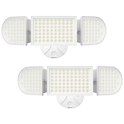 iMaihom 100W LED Security Light, 9000LM Super Bright Outdoor Flood Light, IP65 Waterproof Exterior Floodlight with 3 Adjustable Heads, 6000K Daylight White Wall Light for Yard, Garage, Patio (2 Pack)