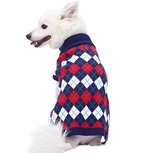 Blueberry Pet Chic Argyle All Over Dog Sweater in Navy Blue, Back Length 10', Pack of 1 Clothes for Dogs