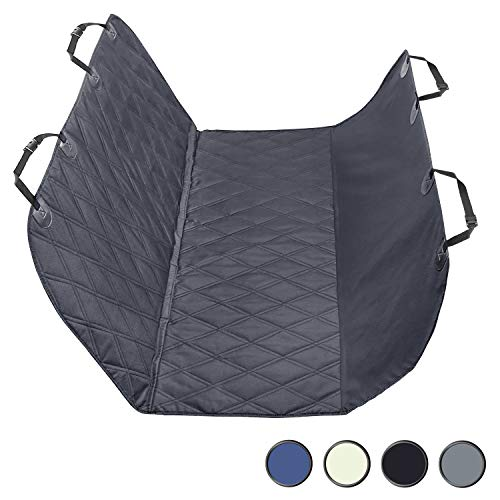 """Vivaglory Dog Seat Cover with Hammock Protectors, Quilted & Durable 600 Denier Oxford 4 Layers with Anti-Slip Backing for Most Cars, SUVs & MPVs, Black, 64.2"""" (L) 58"""" (W)"""