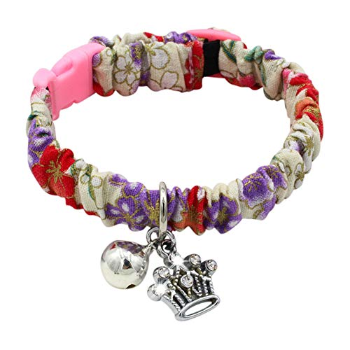 Tutuba Pet Dog Cat Floral Elastic Adjustable Collar with Bell,Crown,Fish